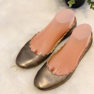 Chloe Lauren Scalloped Gold Flats Size 38 1/2